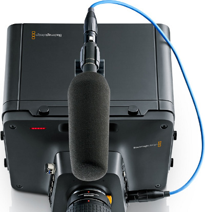 plug in your professional external microphones on the Blackmagic Studio Camera