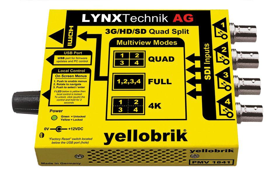 yellobrik 3G-SDI Quad Split Multiviewer w/ 4K Monitoring